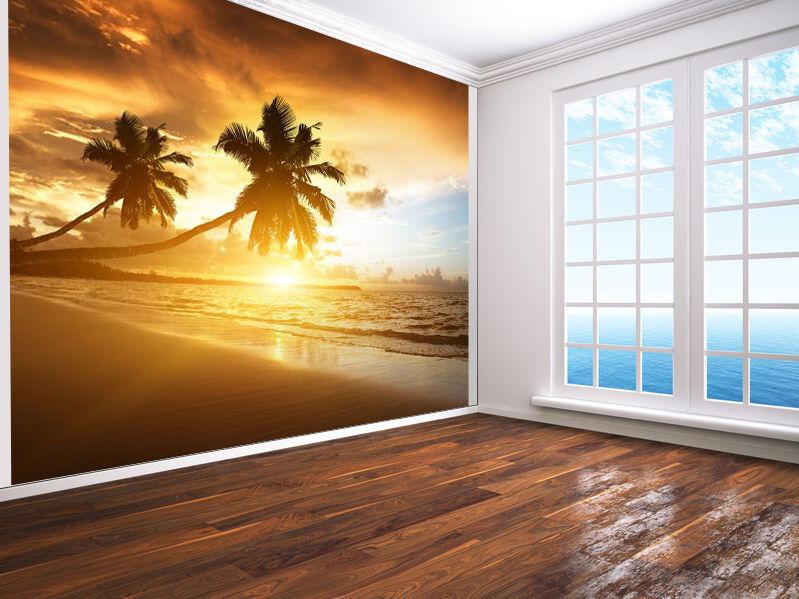 Strand mit Palmbäume bei Sonnenuntergang Urlaub Tapeten Wandbild (16504177) Meer