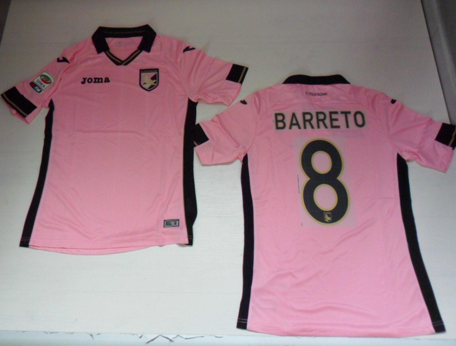 FW14 Palermo Trikot Wettspiel 8 Barreto Home Jersey + Flicken Legierung T-Shirt