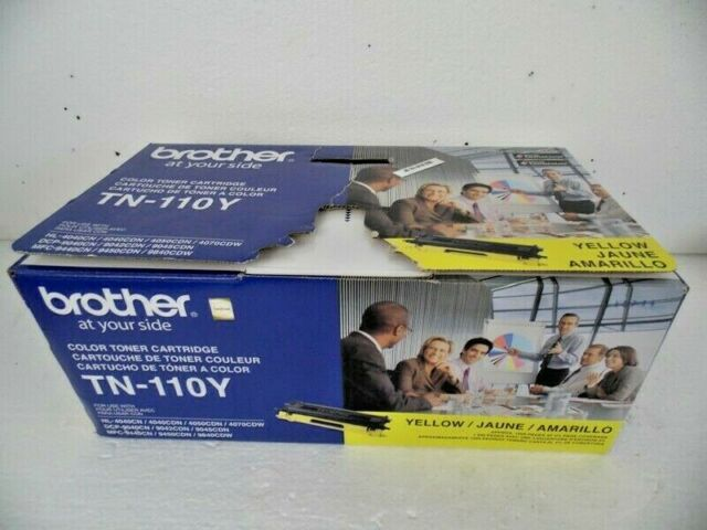 Brother Yellow TN-110Y Color Toner Cartridge Sealed in Foil, Box Opened