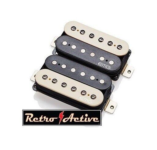 EMG Retro Super 77 Set Active Humbucker Set - Zebra - 5965