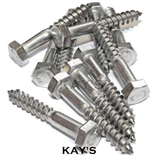 M6 6mm tornillos de madera cabeza hexagonal Entrenador Tornillos Hexagonal Lag Pernos de acero inoxidable A2