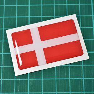 2x-Denmark-Danish-Flag-Domed-Stickers-50mm-x-30mm-High-Gloss-Raised-Gel-Finish