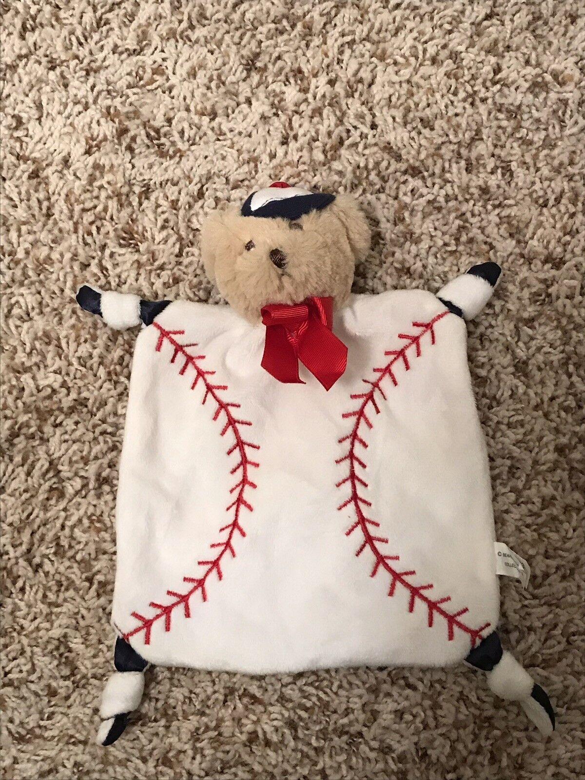 "Baby Security Blanket Boy Baseball 9x8/"" Gift Nursery Small Plush Soft NEW"