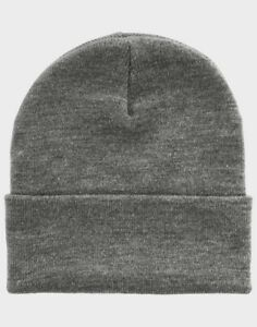New Winter Hat Tuque Winter Fold Plain Black Grey Size Fits All ... 9a85455d18e
