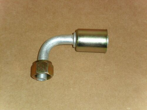 AC HOSE FITTING BEADLOCK 90 DEGREE #8 FEMALE ORING TO #10 HOSE-FT1326C