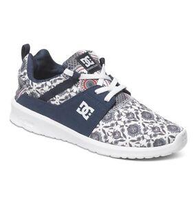 low priced 4c50a bd858 Details about Women's Shoes Training Dc Shoes Heathrow White Blue Print  Shoes Schuhe