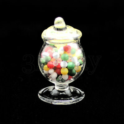 Dollhouse Miniature Glass Candy Dish Filled with Bright Hard Candy