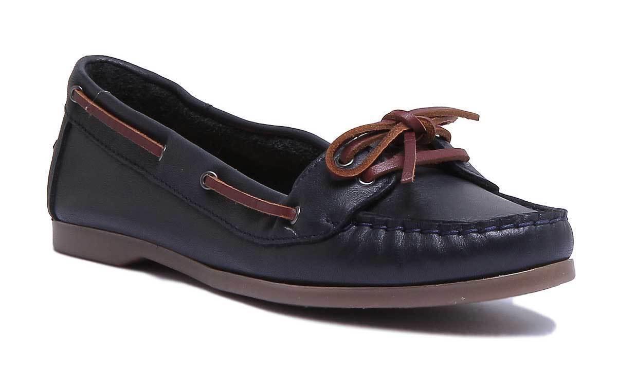 Justin Reece Tabatha Femmes Cuir Matt Navy Bateau Chaussures Taille UK 3 - 8