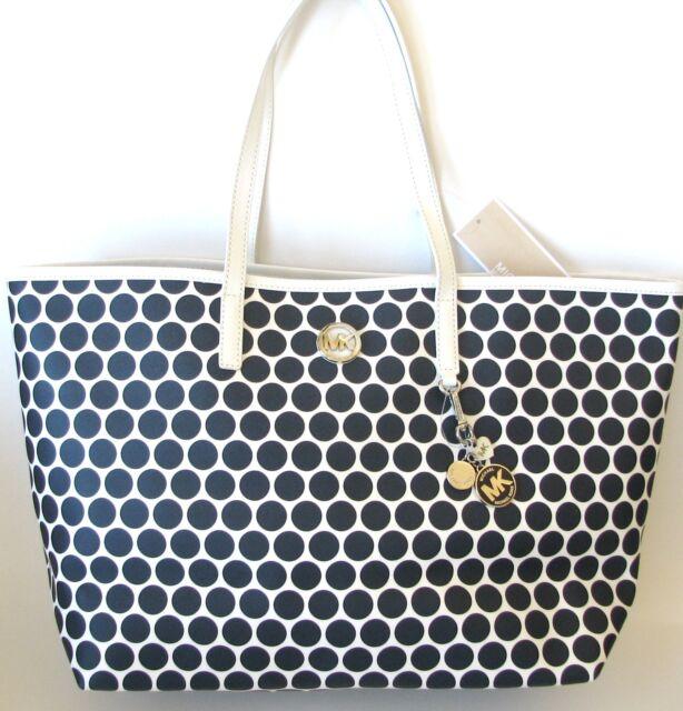 michael kors kiki md tote handbag in white navy 30f3skit2r ebay rh ebay com