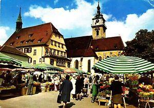 Stuttgart-Bad-Cannstadt-Marktplatz-Ansichtskarte-1985-gelaufen