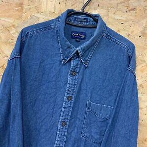 Vintage-CLUB-ROOM-Blue-Denim-Long-Sleeve-Shirt-Size-Mens-XL