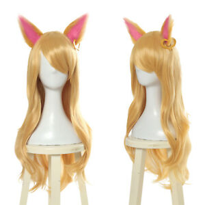 LOL-Game-KDA-Ahri-Cosplay-Wig-Long-Straight-Blonde-Gold-Hair-Ears-Women-Wigs