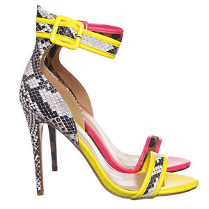 e254aa6c907db Details about Dashing19 Neon Pipping High Heels - Women 2 Piece Open Toe  Sandal w Ankle Strap