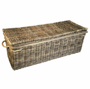 Grey-Kubo-Buff-Rattan-Storage-Trunk-Chest-Large-Two-Partitions-Wood-Frame