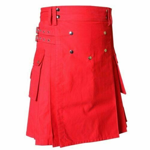 "New Stylish Men Handmade RED Deluxe Utility Fashion Kilt 100/% Cotton 30/"" to 50/"""