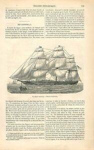 Clipper-Klipper-bateau-a-voile-voilier-3-trois-Mats-GRAVURE-ANTIQUE-PRINT-1863