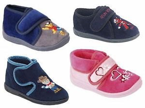 Girls Boys Bedroom Slippers Navy Pink Childs childrens Sizes 4,5,6 ...