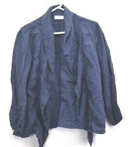 Chico-039-s-Women-039-s-Size-2-Long-Sleeve-100-Linen-Open-Front-Cardigan-Blue