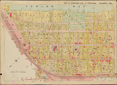 1909 BAYONNE HUDSON COUNTY NEW JERSEY CITY PARK /& BALL FIELDS P.S 7 ATLAS MAP