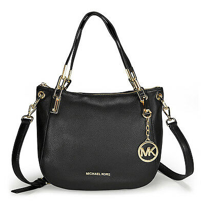 Michael Kors Brooke Medium Black Leather Shoulder Tote