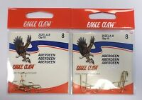 Eagle Claw Classic Aberdeen Hooks Gold Size 8 202ela 2 Pack 3hh