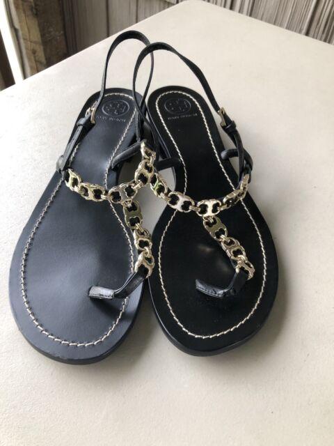 Tory Burch Gemini Black Leather Sandal 9M