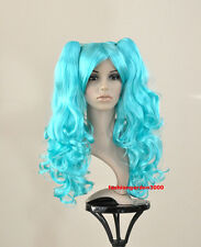 SWEET WAVY CURLY BLUE PONYTAIL COSTUME COSPLAY HAIR WIG