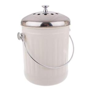 Kitchen-Compost-Bin-White-Waste-Composter-Food-Garden-Recycling-Scrap-Trash-5L