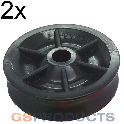 2x 50mm Black Nylon Plastic Pulley Wheel Sheave FREE P+P