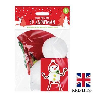 9 Christmas Make Your Own Foam Character Ornament Craft Kit Wiggle Eye Pom Pom