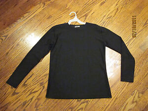 NEW-BLACK-LAYERING-TEE-SHELL-LONG-SLEEVE-CREW-NECK-POLY-SPANDEX-MODEST
