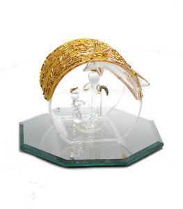 Kleine Glas Weihnachtskrippe Mit Gold Dekoration Zu Weihnachten