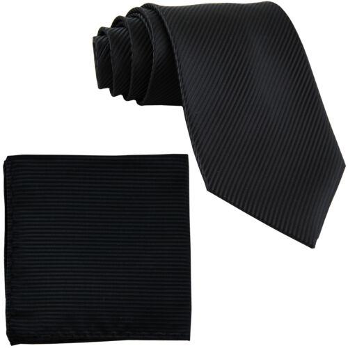 New Men/'s Formal stripes polyester Neck Ties /& Hankie set black prom wedding