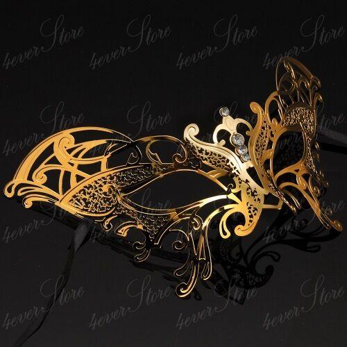 Rose Gold Womens Ravishing Butterfly Laser-Cut Metal Venetian Masquerade Mask