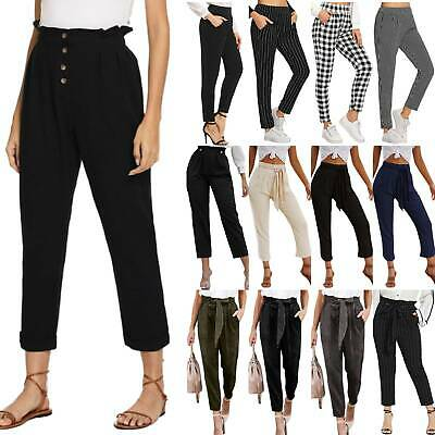 Womens Casual Paperbag Harem Pants Elastic High Waisted Cropped OL Work Trousers