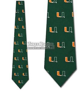 Silk Hurricanes Tie Mens Licensed Neck Ties Miami Hurricanes Neckties NWT