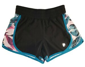 Fila-Sport-Womens-S-Workout-Athletic-Running-Shorts-Black-w-Floral-Multicolor