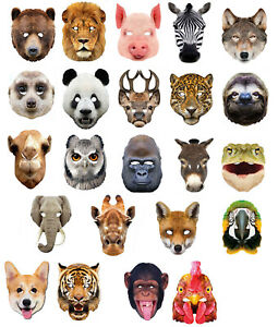 Animal-2D-Card-Party-Face-Masks-Mask-Zoo-Farm-lot-World-Book-Day-Fancy-Dress