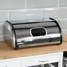 Bread Bin Window Steel Roll Top Kitchen Storage Loaf Box Silver By Home Discount