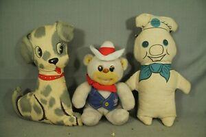 Menge-Vintage-Alter-Pluesch-Tiere-Pillsbury-Doughboy-Kissen-Puppe-Cowboy-Baer-Hund