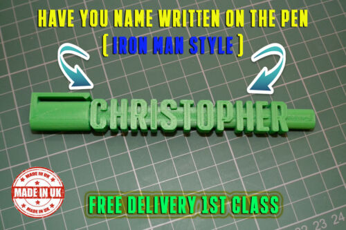 Personalised Named Pen 3D Iron Man Style Novelty Kids Gents Xmas Birthday Gift