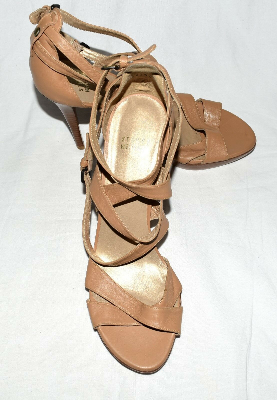 Stuart Weiztman Nude Leather with Buckle Ankle Strap Platform Stilettos Sz 9.5 M