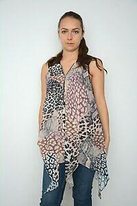 Haut-Femme-Ex-Debenhams-Imprime-Animal-Mousseline-Overlay-Asymetrique-Debardeur-Taille-8-18