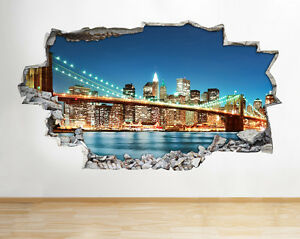 Wall Stickers New York City Scene Nyc Night Decal Poster