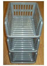 3 Tier Stacking Baskets,Storage Veg Rack Plastic Stackers SILVER 21cm,  Kitchen
