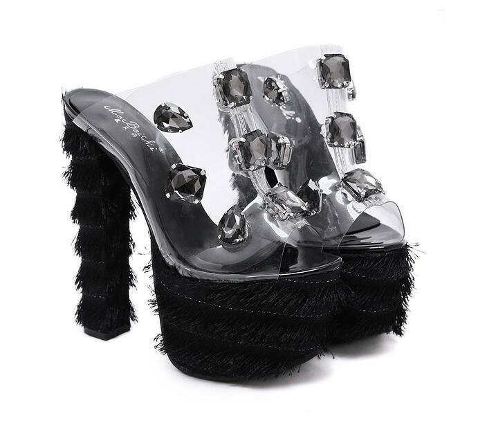 Womens Trendy Peep Toe Diamante Block High Heels Platform Princess Princess Princess Sandals Hot 2c3e1c