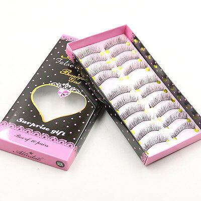 10Pairs Makeup Handmade Long Thick Cross False Eyelashes Eye Lashes Hot