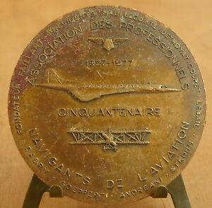 Médaille 5O aniv des Navigants de l'aviation Medal 勋章 Plane avion Sadi Lecointe - France - Métal: Cuivre - France