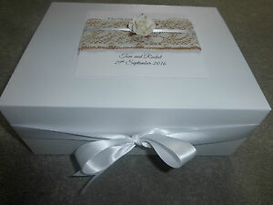 Details About Extra Large Wedding Keepsake Box Personalised Memory 35x35x15 Burlap Lace