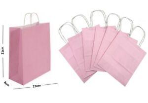 Rose-pastel-PAPIER-SACS-CADEAU-BB-Twisted-Poignees-Transporteur-Party-BUTIN-FAVEUR-Sac